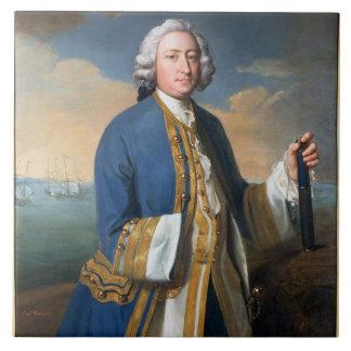 Retrato de 1709-87) tenencias de capitán David Bro Azulejo Cuadrado Grande