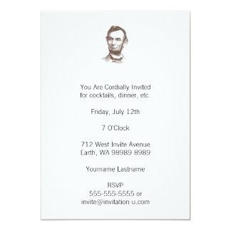 """Retrato de Abraham Lincoln del vintage Invitación 5"""" X 7"""""""
