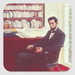 Retrato de Abraham Lincoln Pegatinas Cuadradas Personalizadas