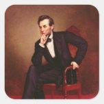 Retrato de Abraham Lincoln Pegatina Cuadrada