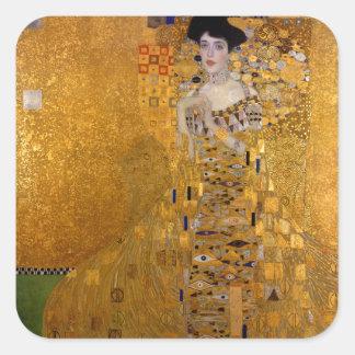 Retrato de Adela Bloch-Bauer de Gustavo Klimt 1907 Pegatina Cuadrada