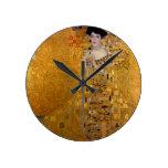 Retrato de Adela Bloch-Bauer de Gustavo Klimt 1907 Reloj Redondo Mediano