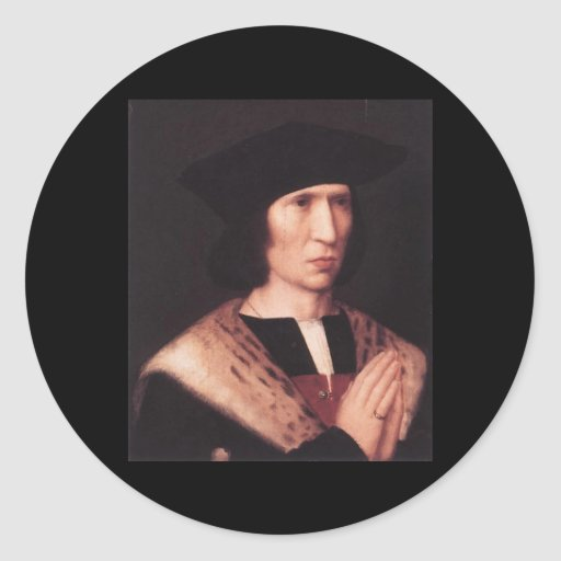 Retrato de Adriaen Isenbrandt de Paulus de Nigro Pegatina Redonda