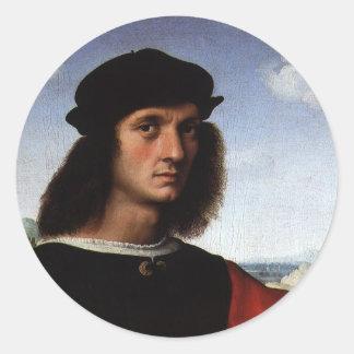 Retrato de Agnolo Doni por Raphael o Raffaello Pegatina Redonda