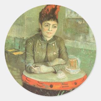 Retrato de Agostina Segatori de Vincent van Gogh Pegatina Redonda
