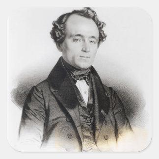 Retrato de Alejandro Dumas Fils Calcomanias Cuadradas