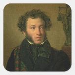 Retrato de Alexander Pushkin, 1827 Pegatina Cuadrada