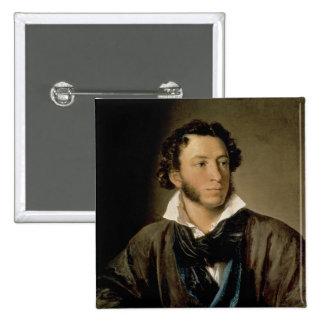 Retrato de Alexander Pushkin Pin Cuadrado