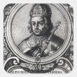 Retrato de Alfonso X 'el Wise Calcomanías Cuadradas