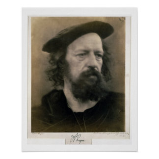 Retrato de Alfred, señor Tennyson (1809-92) (b/W.P Poster