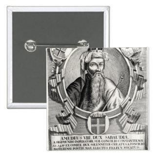 Retrato de Amedee VIII Le Pacifique Pin Cuadrada 5 Cm