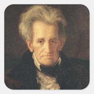 Retrato de Andrew Jackson Pegatina Cuadrada