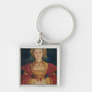 Retrato de Anne de Cleves 1539 Llavero Cuadrado Plateado