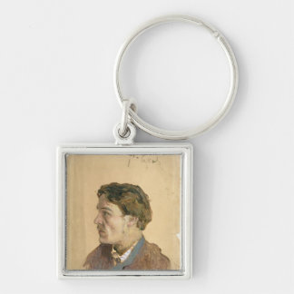 Retrato de Antón Chekhov Llavero Cuadrado Plateado