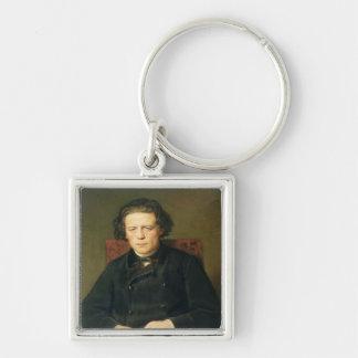 Retrato de Antón Rubinstein 1870 Llavero Cuadrado Plateado