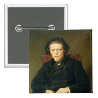 Retrato de Antón Rubinstein 1870 Pin Cuadrada 5 Cm