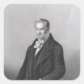 Retrato de barón Alexander von Humboldt Pegatina Cuadrada