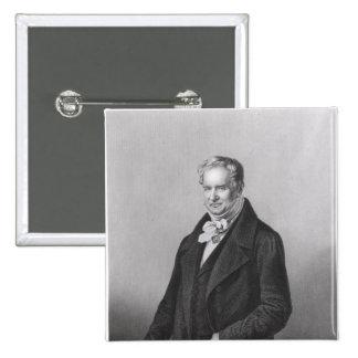 Retrato de barón Alexander von Humboldt Pin Cuadrado