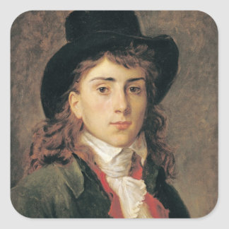 Retrato de barón Antoine Jean Gros envejecido 20 Pegatina Cuadrada