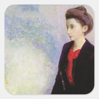Retrato de baronesa Roberto de Domecy, 1900 Calcomanías Cuadradas Personalizadas
