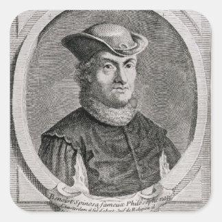Retrato de Baruch o de Benedicto Spinoza Pegatina Cuadrada