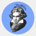 Retrato de Beethoven en las camisetas, tazas, Pegatinas Redondas