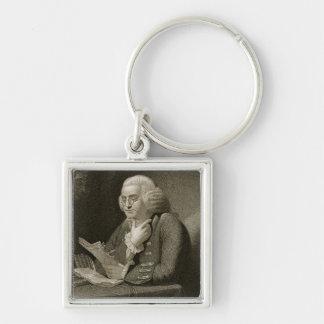 Retrato de Benjamin Franklin, grabado por Thomas Llavero Cuadrado Plateado