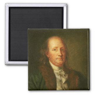 Retrato de Benjamin Franklin Imán Cuadrado