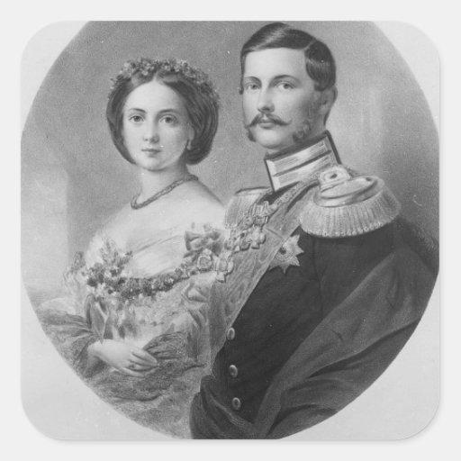 Retrato de boda de sus altezas reales calcomanía cuadradas