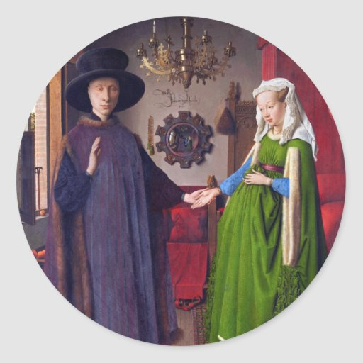 Retrato de boda - pegatinas del arte pegatinas redondas