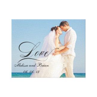 Retrato de boda personalizado del amor impresión en lienzo