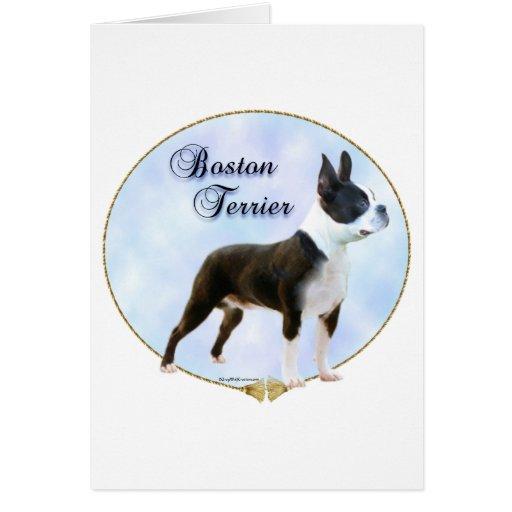 Retrato de Boston Terrier Felicitaciones