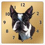 Retrato de Boston Terrier Reloj Cuadrado