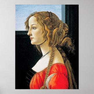 Retrato de Botticelli de una mujer joven Posters