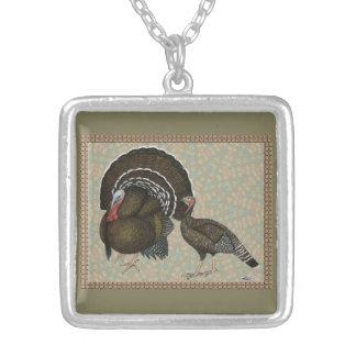 Retrato de bronce estándar de los pavos colgante cuadrado