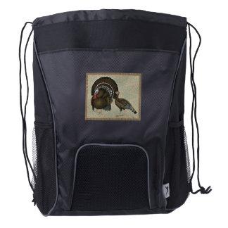 Retrato de bronce estándar de los pavos mochila de cordón