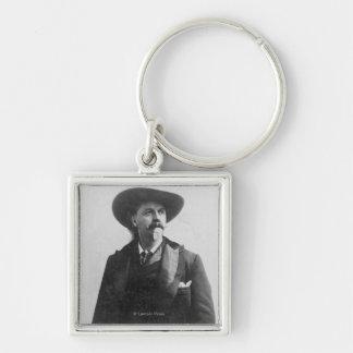 Retrato de Buffalo Bill Llavero Cuadrado Plateado