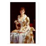 Retrato de Cabanel Alejandro de la señora joven Tarjetas Postales