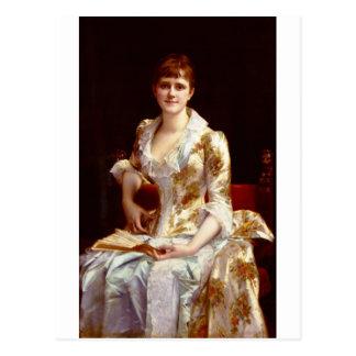 Retrato de Cabanel Alejandro de la señora joven Postal
