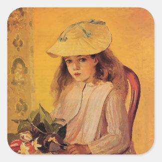 Retrato de Camilo Pissarro- de Jeanne Pegatina Cuadrada