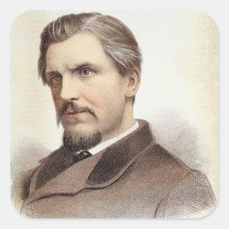 Retrato de capitán James Augustus Grant (1827-87) Pegatina Cuadrada
