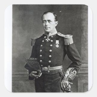 Retrato de capitán Roberto Falcon Scott Calcomanías Cuadradas Personalizadas