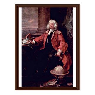 Retrato de capitán Thomas Coram By Hogarth Tarjeta Postal