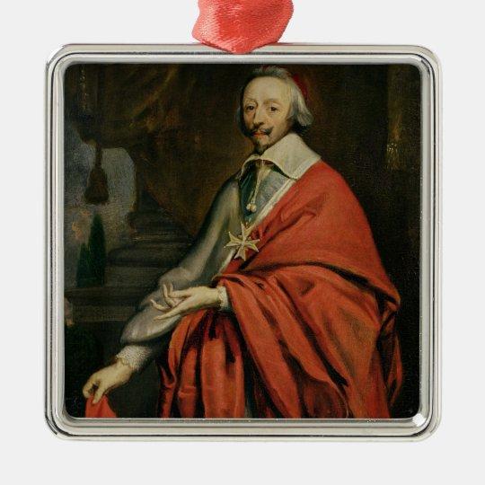 Retrato de Cardinal de Richelieu Adorno Navideño Cuadrado De Metal