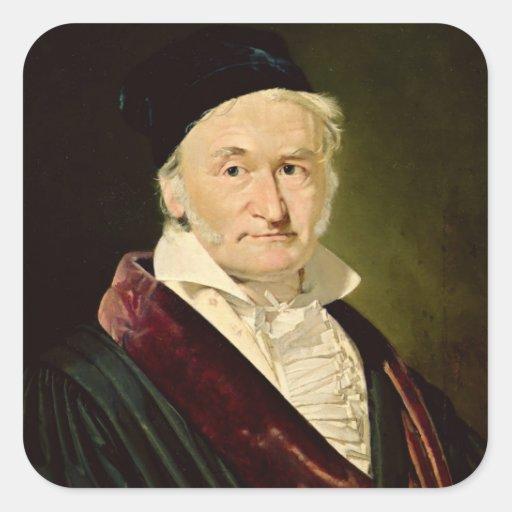 Retrato de Carl Friedrich Gauss, 1840 Pegatina Cuadrada