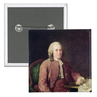 Retrato de Carl von Linnaeus Pin Cuadrado