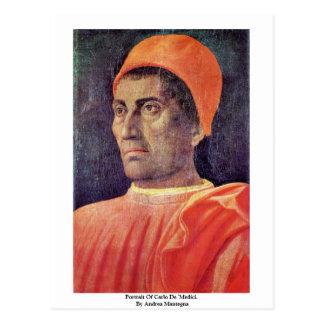 "Retrato de Carlo De ""Medici. Por Andrea Mantegna Postal"