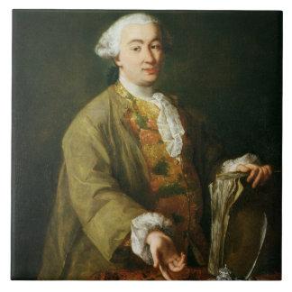 Retrato de Carlo Goldoni Azulejo Cuadrado Grande
