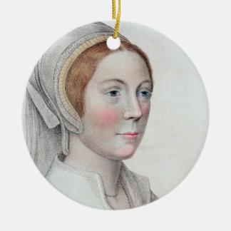 Retrato de Catherine Howard (1520-42) grabado Adorno Navideño Redondo De Cerámica
