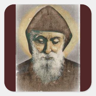 Retrato de Charbel del santo Pegatina Cuadrada